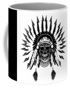 American Indian Skull Icon Background, Black And White  Coffee Mug