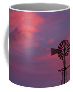 American Old Farm Water Pumping Windmill With A Sunset  Coffee Mug