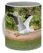 American White Pelican Above The Water Coffee Mug