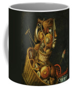 An Anthropomorphic Still Life With Pots Pans Cutlery A Loom And Tools Coffee Mug
