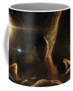 An Asteroid Field Next To An Earth-like Coffee Mug