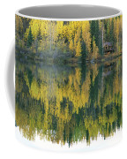 An Autumn View Of A Cabin Reflected Coffee Mug by Rich Reid