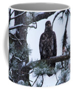 An Eagle Gazing Through Snowfall Coffee Mug