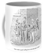 An Elderly Couple Holds Up A Young Couple Coffee Mug