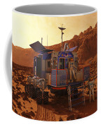An Explorer Departs A Manned Rover Ina Coffee Mug