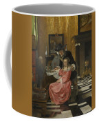An Interior With A Woman Refusing A Glass Of Wine Coffee Mug