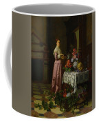 An Interior With Fruit And Flowers Coffee Mug
