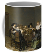 An Interior With Musicians Seated Around A Table  Coffee Mug