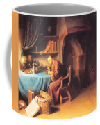 An Old Man Lighting His Pipe In A Study Coffee Mug