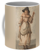 An Old Market Woman Grinning And Gesturing With Her Left Hand Coffee Mug