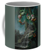 An Outdoor Scene With A Spring Flowing Into A Pool Coffee Mug