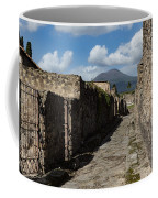 Ancient Pompeii - Empty Street And Mount Vesuvius Volcano That Caused It All Coffee Mug