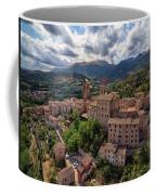 Ancient Village Of Sarnano Italy, Marche, Macerata - Aerial View Coffee Mug