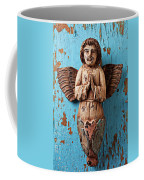 Angel On Blue Wooden Wall Coffee Mug