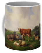 Animals Grazing In A Meadow  Coffee Mug by Hendrikus van de Sende Baachyssun