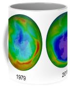 Antarctic Ozone Hole, 1979 And 2015 Coffee Mug
