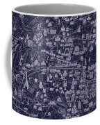 Antique French Pocket Map Of Paris Blueprint Style Coffee Mug