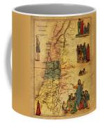 Antique Map Of Palestine 1856 On Worn Parchment Coffee Mug