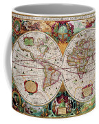 Antique Map Of The World - Double Hemisphere Coffee Mug