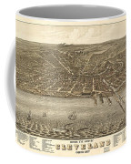 Antique Maps - Old Cartographic Maps - Antique Birds Eye View Map Of Cleveland, Ohio, 1877 Coffee Mug