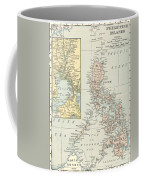 Antique Maps - Old Cartographic Maps - Antique Map Of Philippine Islands And Manila Bay, 1898 Coffee Mug