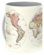 Antique Maps - Old Cartographic Maps - Antique Map Of The Eastern And Western Hemisphere, 1850 Coffee Mug