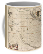 Antique Maps - Old Cartographic Maps - Antique Map Of The Strait Of Magellan, South America, 1650 Coffee Mug