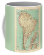 Antique Maps - Old Cartographic Maps - Antique Russian Map Of South America Coffee Mug