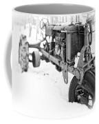 Antique Steel Wheel Tractor Black And White Coffee Mug