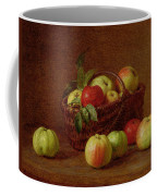 Apples In A Basket And On A Table Coffee Mug by Ignace Henri Jean Fantin-Latour