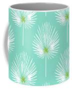 Aqua And White Palm Leaves- Art By Linda Woods Coffee Mug by Linda Woods