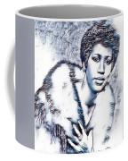 Aretha Franklin Portrait In Blue Coffee Mug