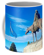 Argentinian Flag And Julio Roca-1843 To 1914-sculpture In Central Park In Bariloche-argentina  Coffee Mug