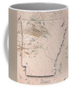 Arkansas State Usa 3d Render Topographic Map Neutral Border Coffee Mug