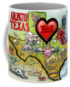 Arlington Texas Cartoon Map Coffee Mug