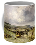 Arrival Of A Stagecoach At Treport Coffee Mug