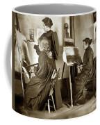 Art Class Oil Painting Teacher  And Art Students 1900 Coffee Mug