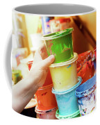 Artist Reaching For A Liquid Paint Container. Coffee Mug