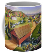 Folk Art Covered Bridge Appalachian Country Farm Summer Landscape - Appalachia - Rural Americana Coffee Mug