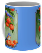 Bird Painting - Bluebirds And Peaches Coffee Mug by Crista Forest