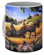Raking Hay Field Rustic Country Farm Folk Art Landscape Coffee Mug