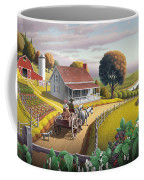 Appalachian Blackberry Patch Rustic Country Farm Folk Art Landscape - Rural Americana - Peaceful Coffee Mug