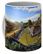 Appalachia Summer Farming Landscape - Appalachian Country Farm Life Scene - Rural Americana Coffee Mug