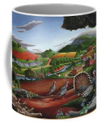 Wild Turkeys In The Hills Country Landscape - Square Format Coffee Mug
