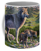 Wolf Painting - Passing It On Coffee Mug by Crista Forest
