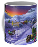 Winter Mountain Landscape - Cardinals On Holly Bush - Small Town - Sleigh Ride - Square Format Coffee Mug