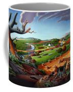 Appalachian Fall Thanksgiving Wheat Field Harvest Farm Landscape Painting - Rural Americana - Autumn Coffee Mug