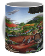Wild Turkeys Appalachian Thanksgiving Landscape - Childhood Memories - Country Life - Americana Coffee Mug by Walt Curlee