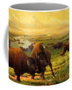 Buffalo Fox Great Plains Western Landscape Oil Painting - Bison - Americana - Historic - Walt Curlee Coffee Mug
