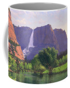 Mountains Waterfall Stream Western Mountain Landscape Oil Painting Coffee Mug